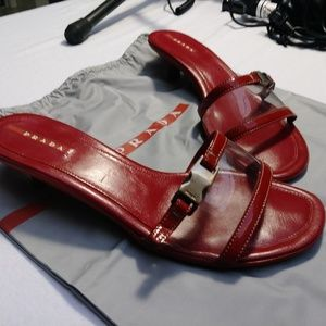 Prada red leather open-toe heeled sandals size 9
